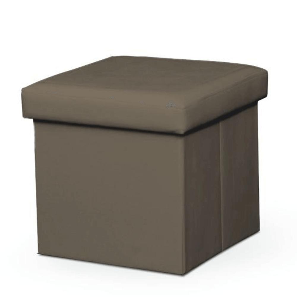 Taburet pliabil Tela, 40x40x37 cm, ecopiele, maro poza
