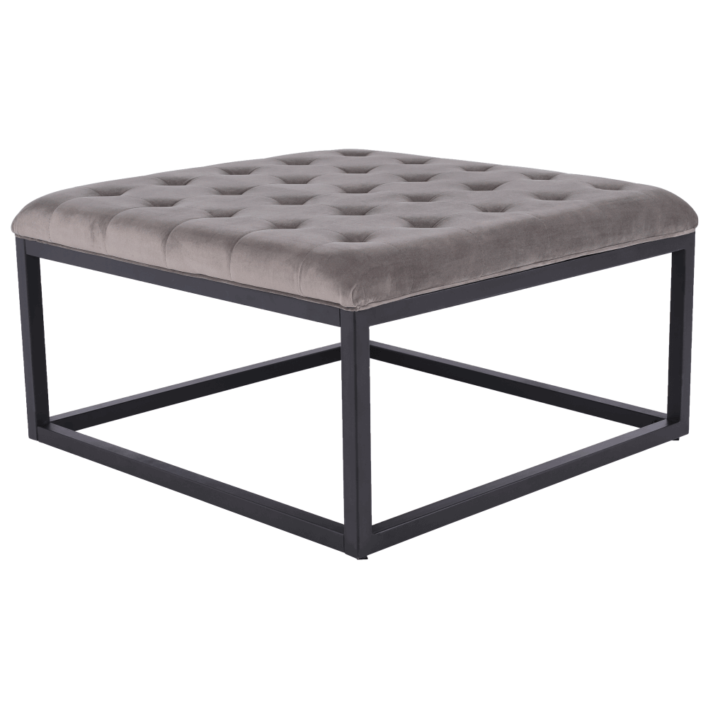 Taburet Sefal, 86x86x46 cm, textil/metal, gri/negru poza