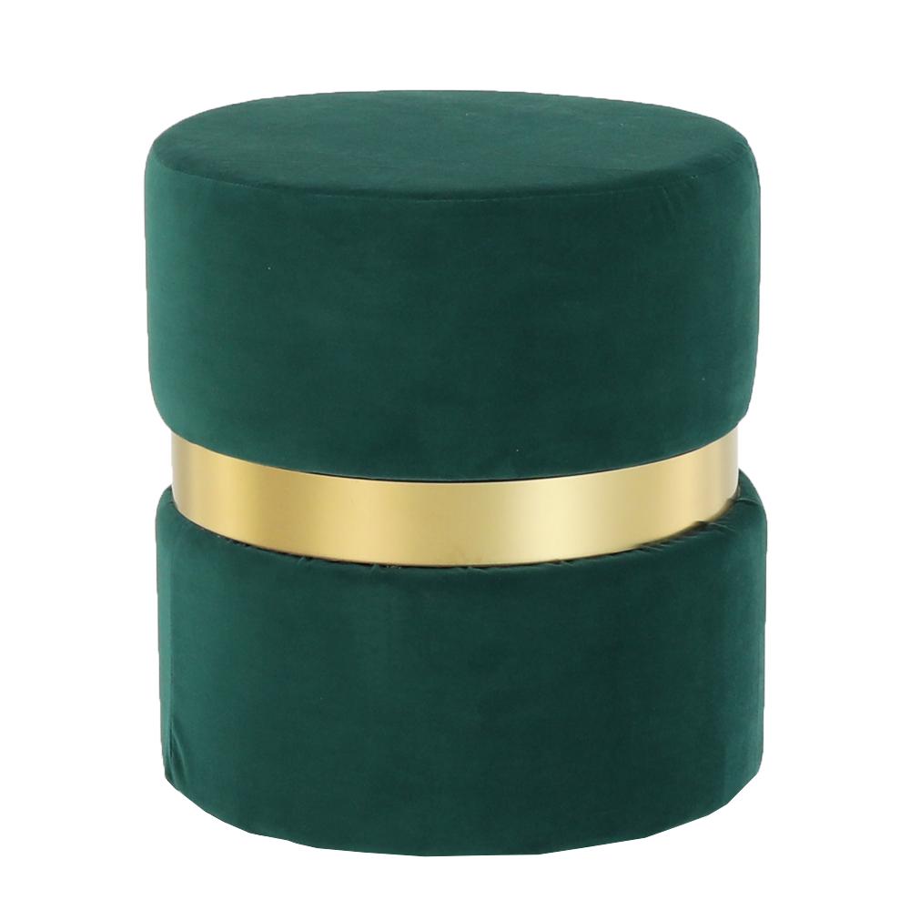 Taburet Vizel, 37x39 cm, catifea/metal, verde poza