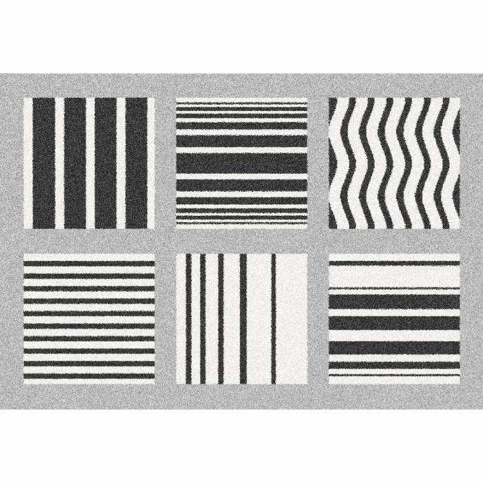Covor Almas, 133x190 cm, poliester, gri/alb/negru