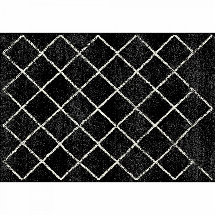 Covor Mates 1, 133x190 cm, poliester, negru