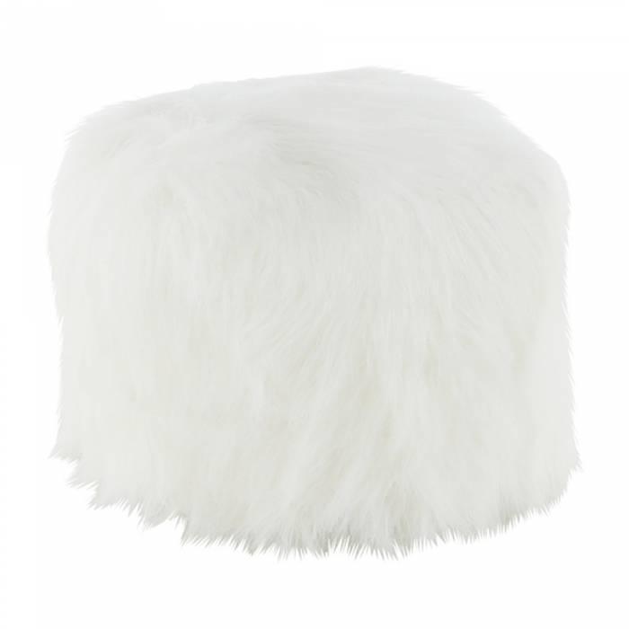 Puf Azene, 40x40 cm, blană artificială alb