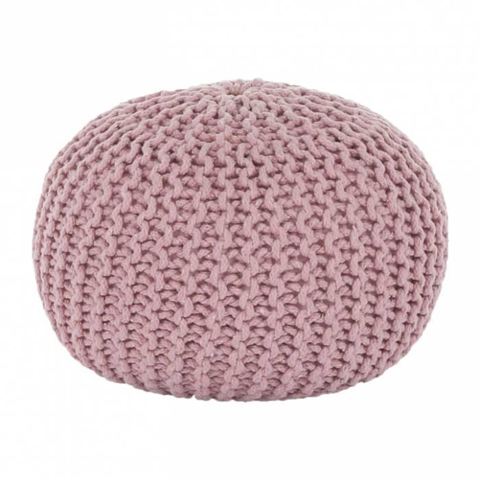 Puf împletit Gobi2, 50x35 cm, bumbac, roz