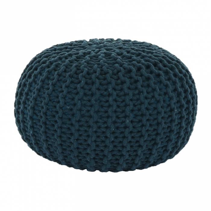 Puf tricotat Goby2, 50x35 cm, bumbac, albastru petrol