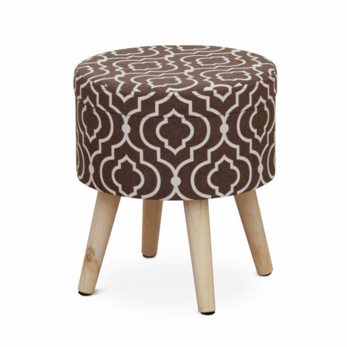 Taburet Darla 1, 32x32x36 cm, textil/lemn, maro/alb