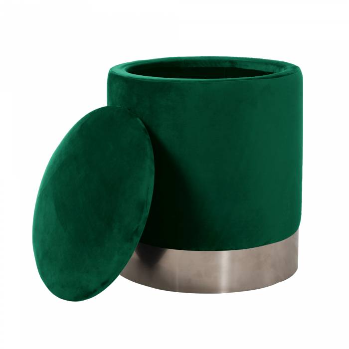 Taburet Daron, 40x45 cm, catifea/metal, verde