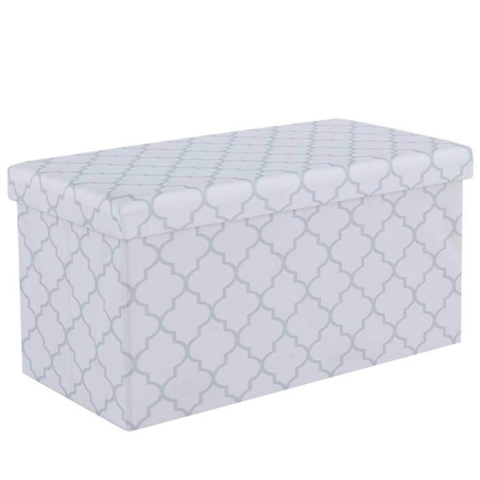 Taburet Kabala, 76x38x38 cm, textil, alb/gri