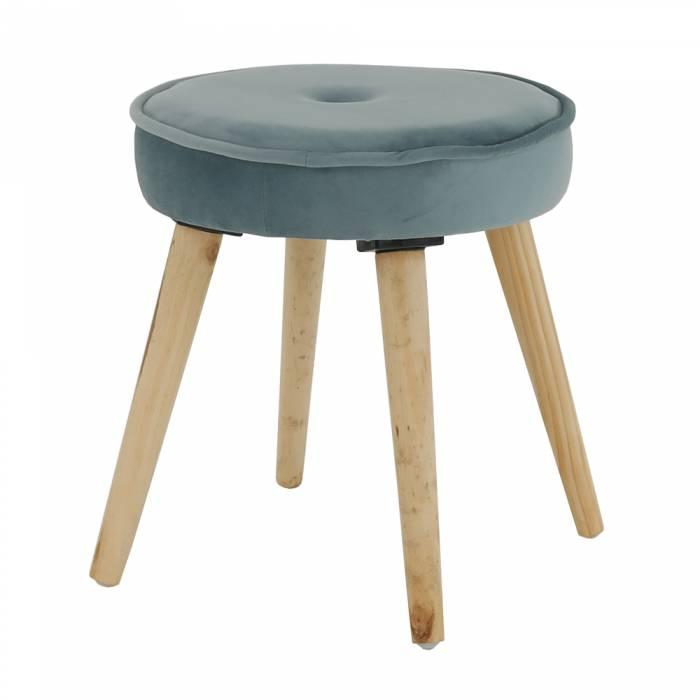Taburet Merle, 37x37x38 cm, catifea/lemn, albastru/bej