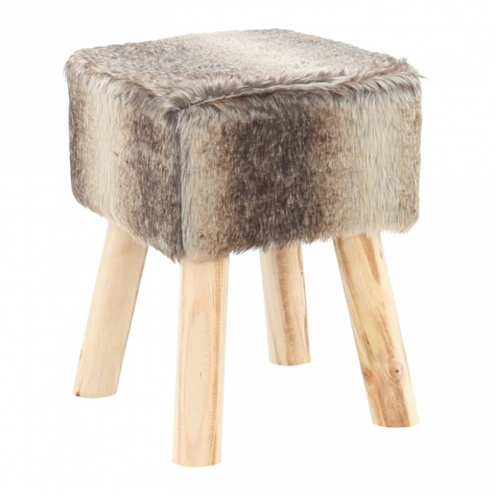 Taburet Nafula, 20x40 cm, blană/lemn, maro