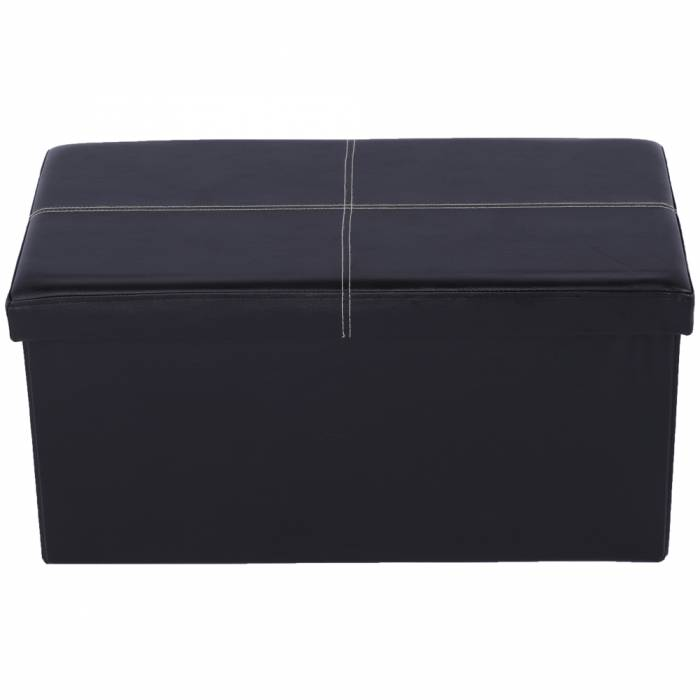 Taburet pliabil Imra, 76x38x38 cm, ecopiele, negru
