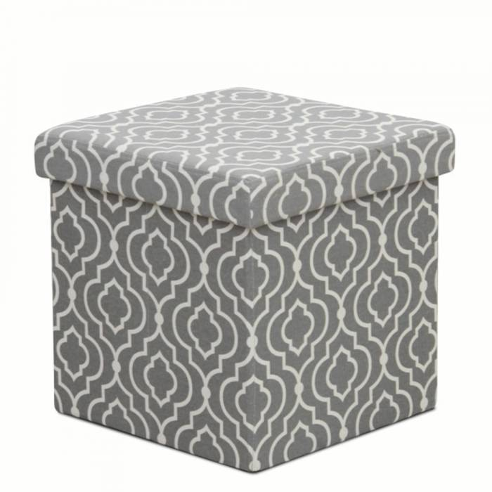 Taburet pliabil Marlo, 38x38x38 cm, textil, gri/alb