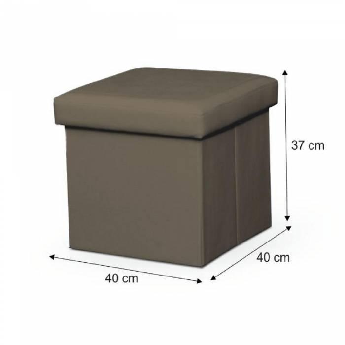 Taburet pliabil Tela, 40x40x37 cm, ecopiele, maro