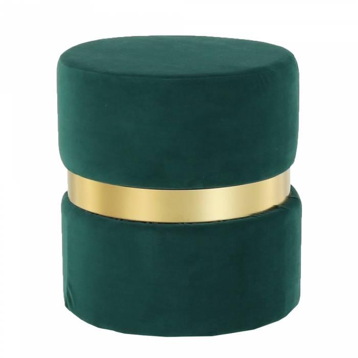Taburet Vizel, 37x39 cm, catifea/metal, verde