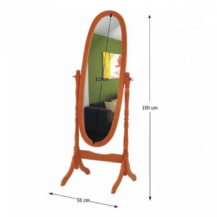 Oglindă de podea Maira, 58x150 cm, lemn, maro cireș