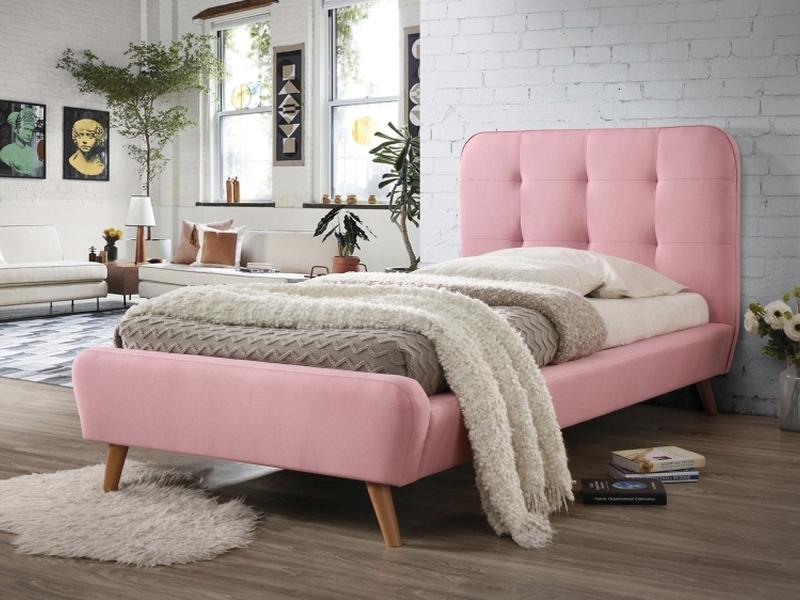 Pat tapiţat cu stofă roz Karen 90x200 poza