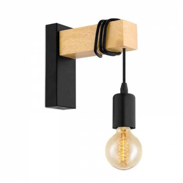 Aplică în stil scandinav Townshend, E27 1x10W, lemn/metal, negru/alb
