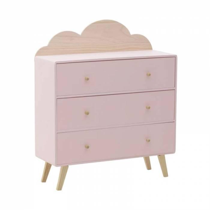 Comodă roz cu 3 sertare Cloud