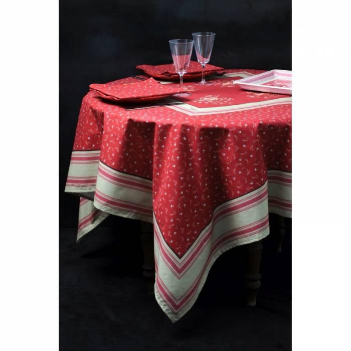 Față de masă roșie cu flori Betsy 160x160 cm