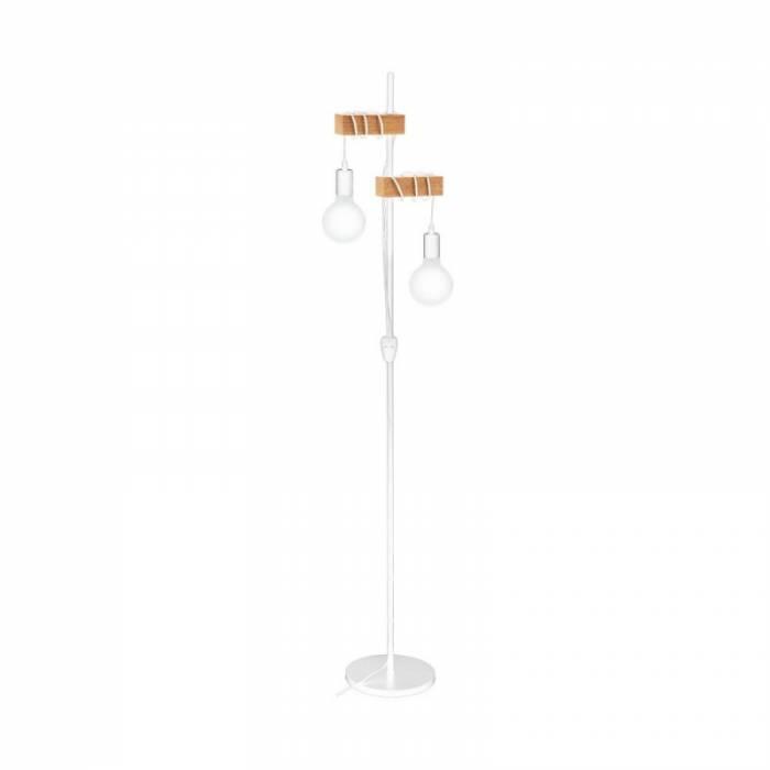 Lampadar în stil scandinav Townshend, E27 2x10W, lemn/metal, maro/alb