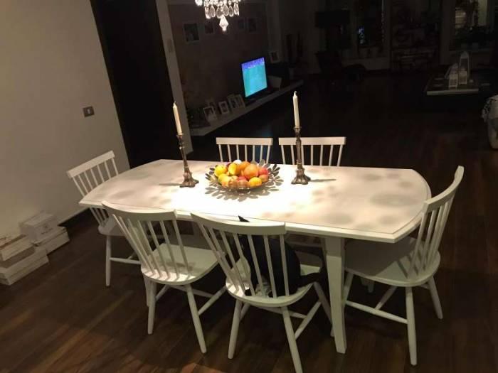 Masă extensibilă de dining Hanover 160/200x80x74 cm, lemn, alb