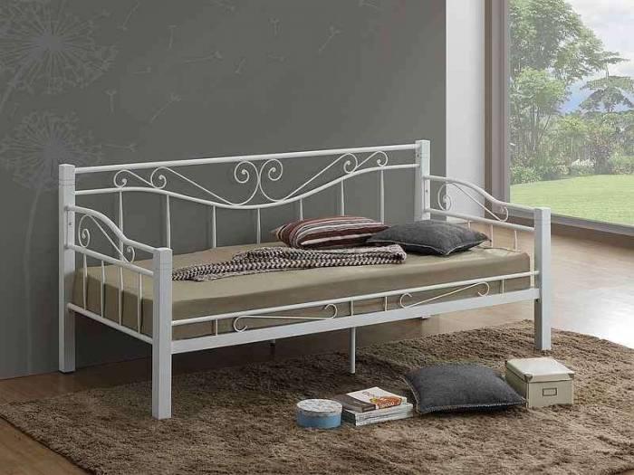 Pat canapea din metal şi lemn alb Toscane 90x200