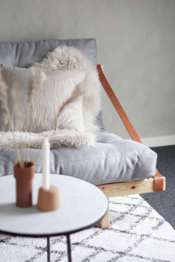 Canapea extensibilă textil crem Jump Black