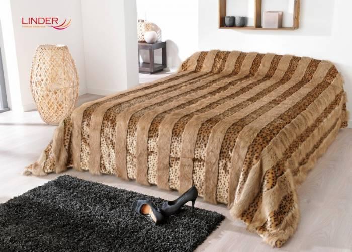 Cuvertură de pat animal print leopard Lynx 5054 230x250 cm