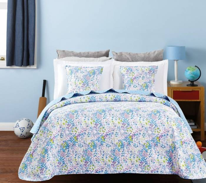Cuvertură de pat fetițe flori albastre 7797 Candy blue