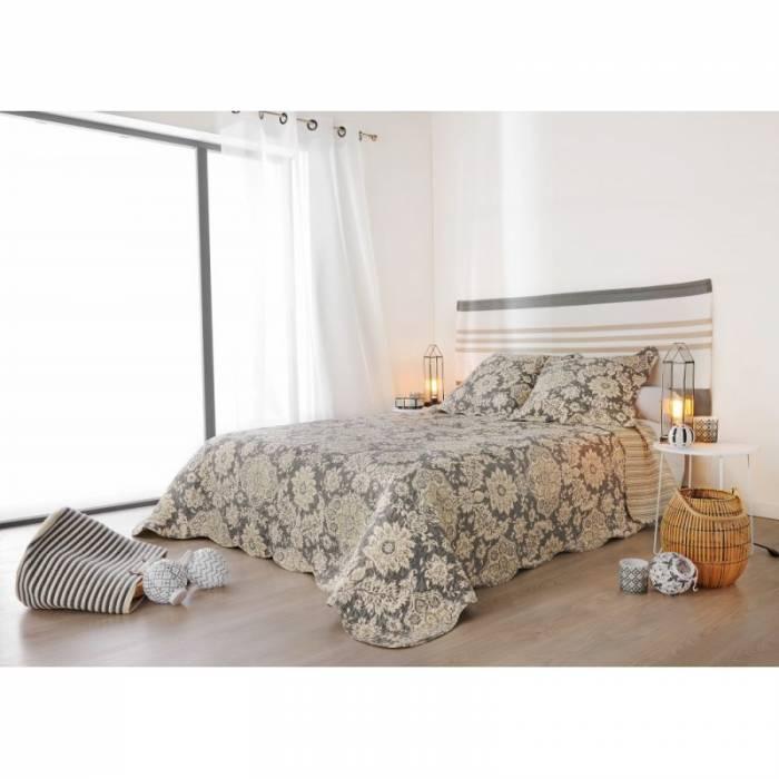 Cuvertură de pat gri flori 5087 San Jose 230x250 cm