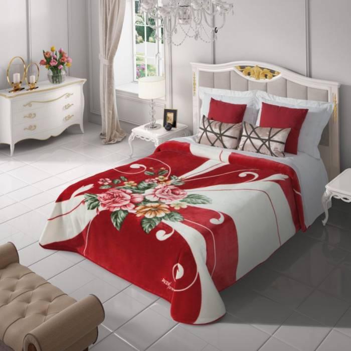 Cuvertură de pat roșie flori  5136 220x240 cm