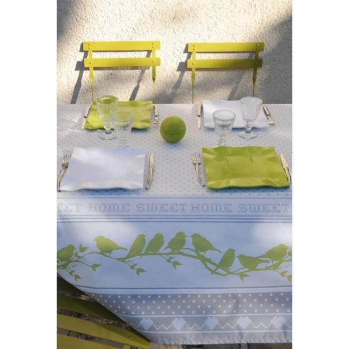Față de masă albă pasari bumbac Pie 155x155 cm