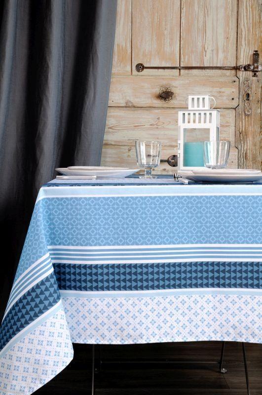 Față de masă albastră Soccoa Bleu 155x250 cm