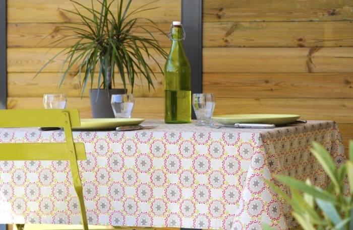 Față de masă bumbac cercuri gri Pippa 155x155 cm
