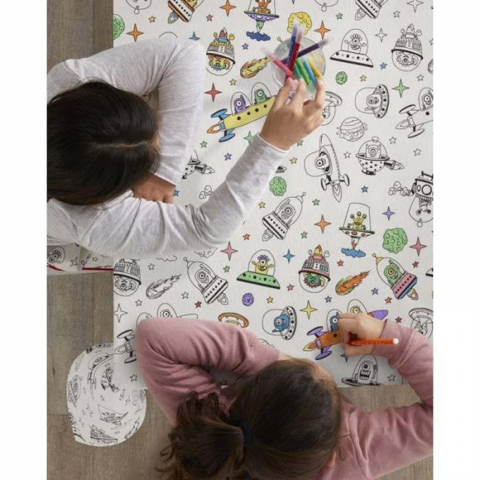 Față de masă de colorat pentru copii Aliens 150x150 cm
