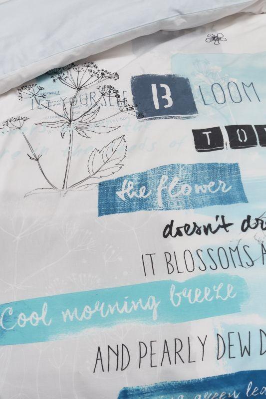 Lenjerie albastră pat Blooming Day Blue 200x200/220 cm