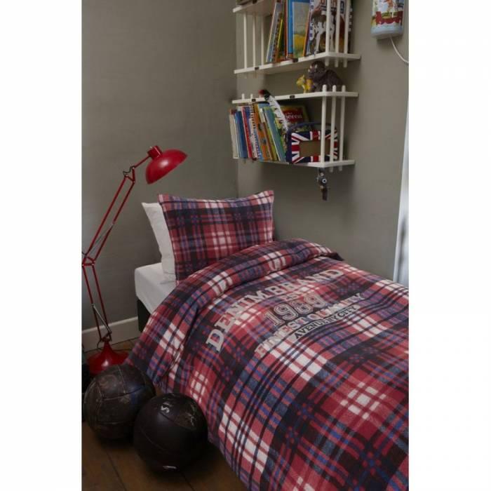 Lenjerie de pat în carouri Wake Up Navy 140x200/220 cm