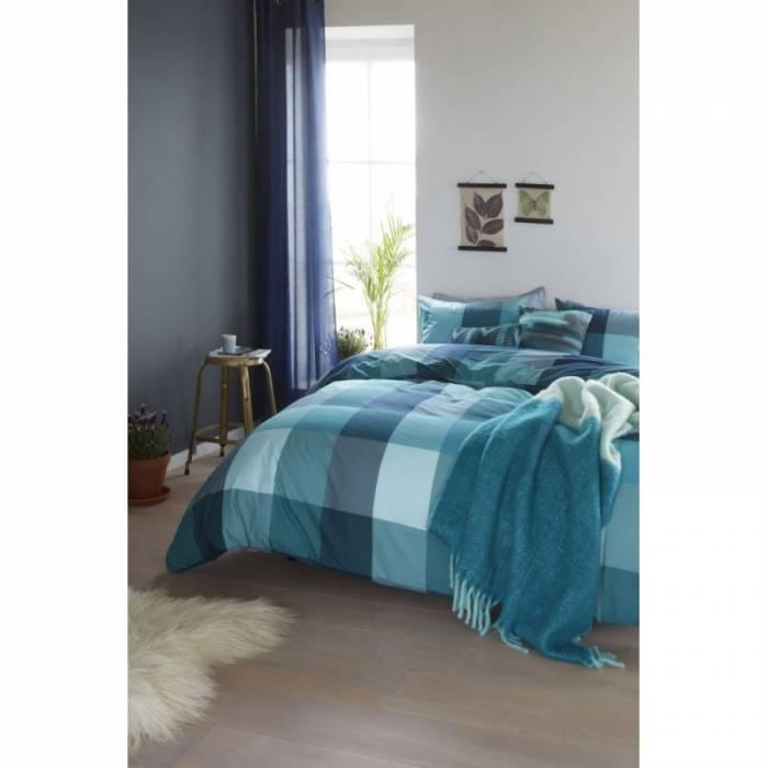 Lenjerie de pat carouri verzi Clarck Blue Green 200x200/220 cm
