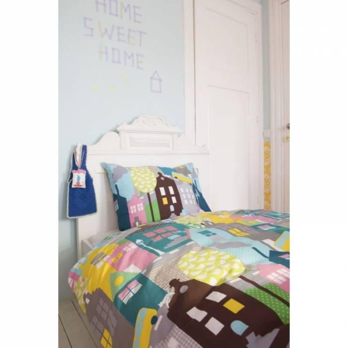 Lenjerie de pat copii bumbac Houses Pink 140x200/220 cm