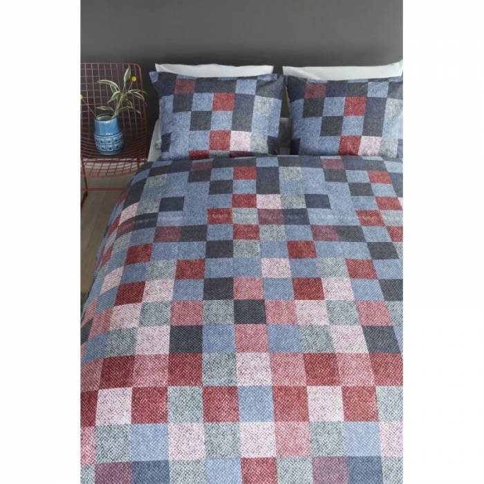 Lenjerie de pat pătrate colorate Juneau Bleu 200x200/220 cm