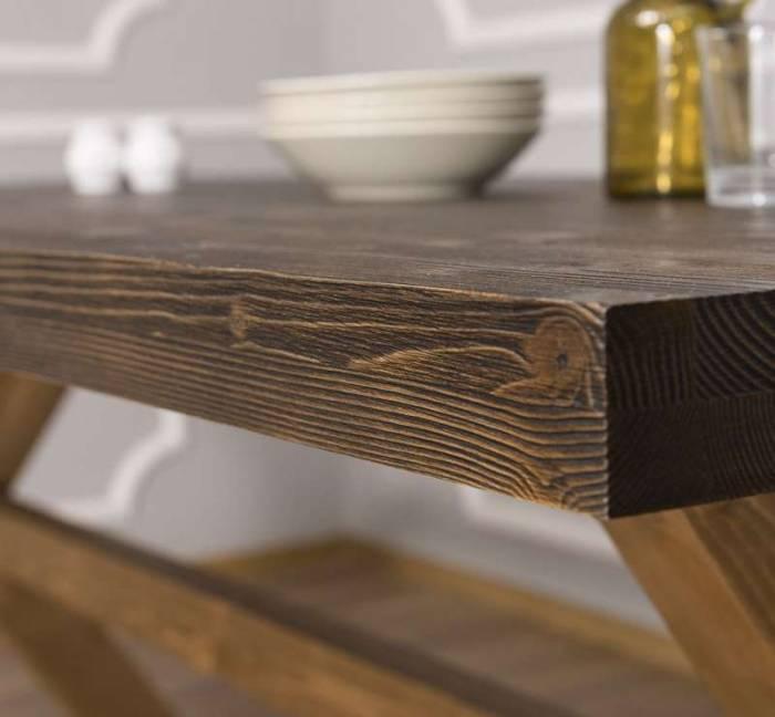Masă de dining, din lemn masiv Farmhouse