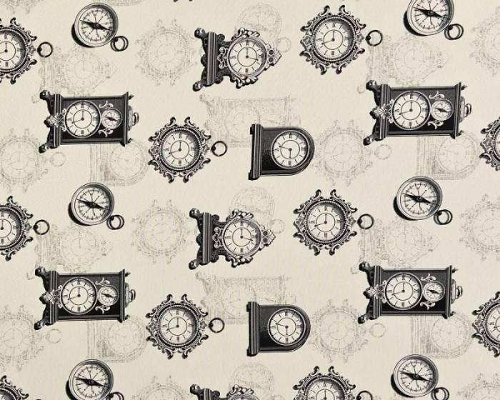 Material draperie Clock Kara Negru