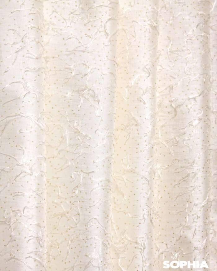 Material draperie Vigo, tafta alba cu zulufi