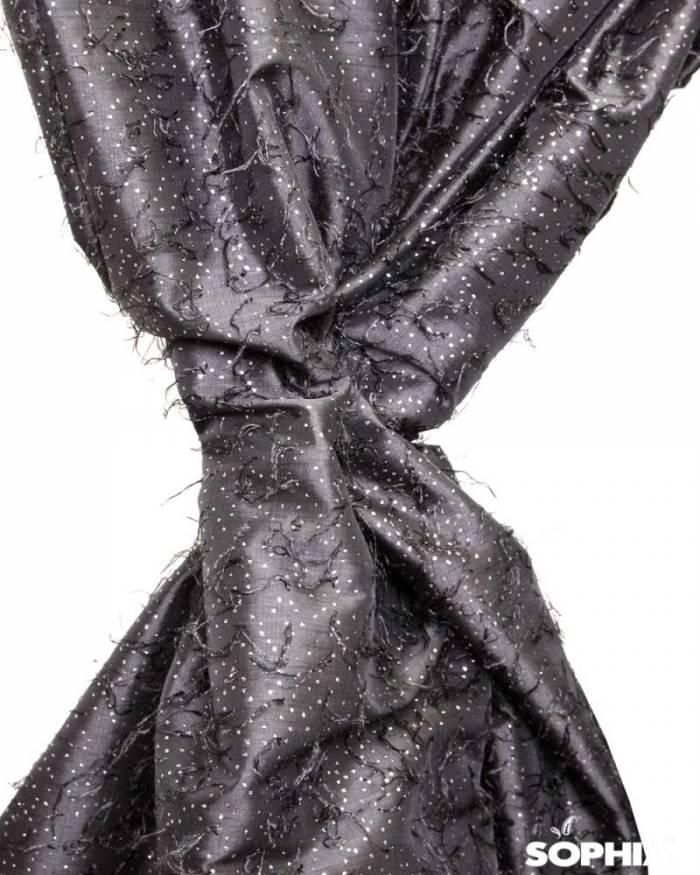 Material draperie Vigo, tafta neagra cu zulufi
