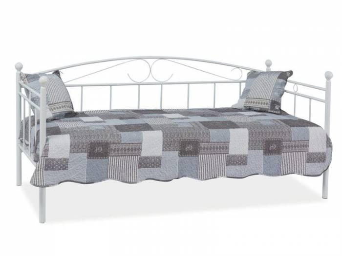 Pat canapea din metal alb Cyprus 90x200