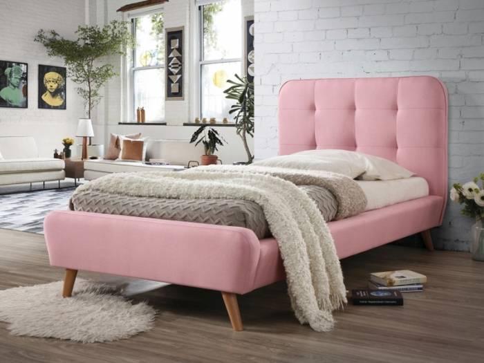 Pat tapiţat cu stofă roz Karen 90x200
