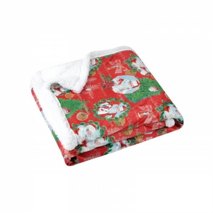 Pătură roșie Moș Crăciun Jinglebells 130x160 cm