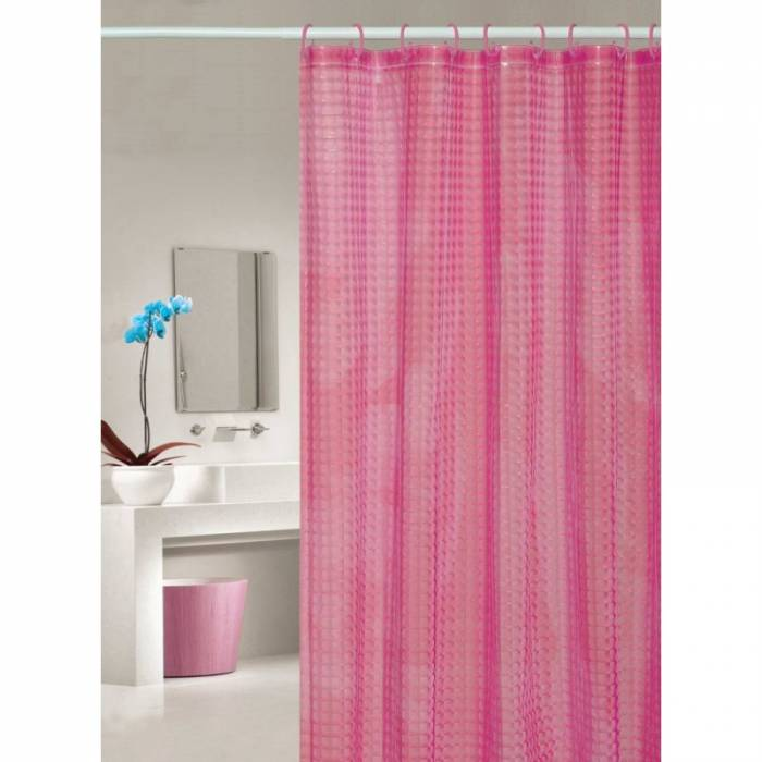 Perdea de duș roz transparentă Bubbles 107 180x200 cm