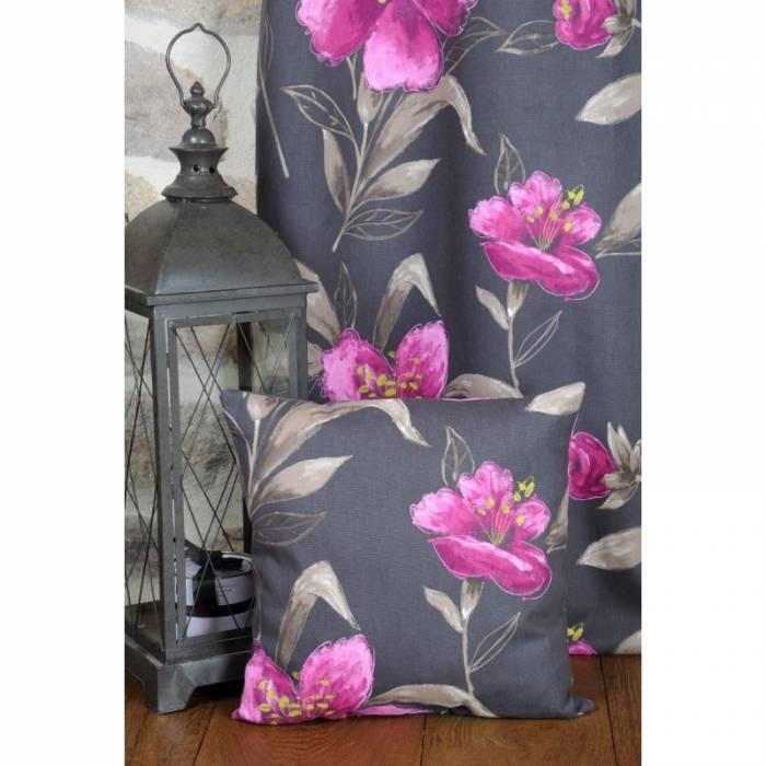 Pernă decorativă flori mov bumbac Lancaster 50x50 cm