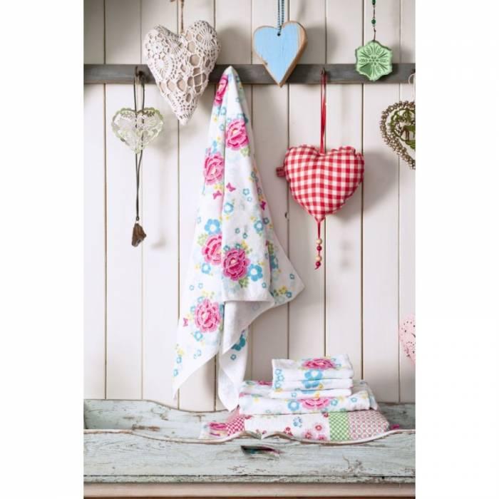 Prosop baie fetițe flori roz Funny Flower 70x140 cm