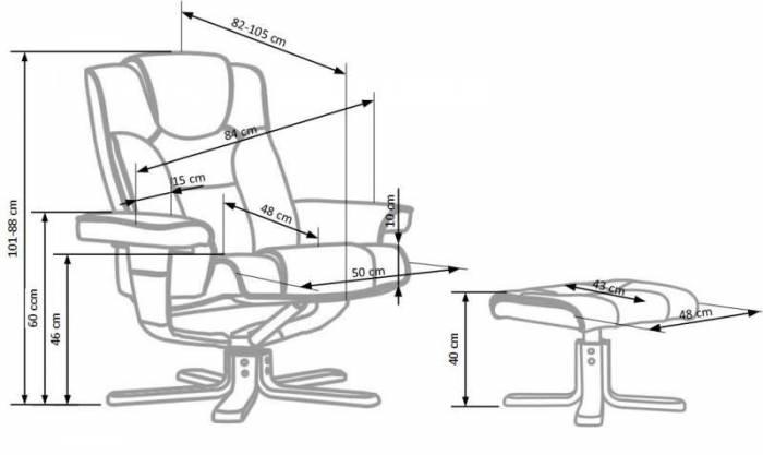 Scaun de birou cu suport pentru picioare Borneo
